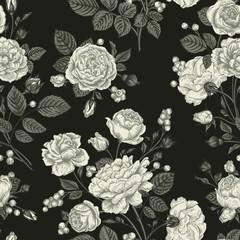 Panel Szklany Czarno-Biały Seamless pattern wit roses.