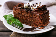 Tasty Piece Of Chocolate Cake With Mint