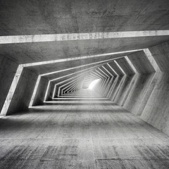 Abstract empty bent concrete corridor interior, 3d