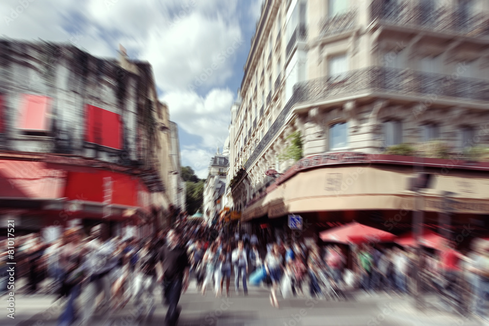 Abstract Background Blurred Crowd In Paris Radial Zoom Blur