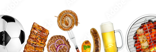 Photo Stands Grill / Barbecue grilled meat soccer background