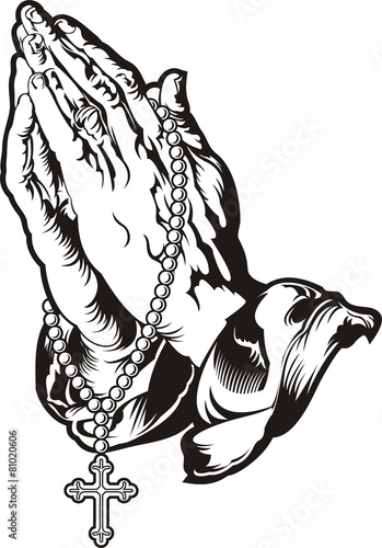 Fototapeta Praying hands with rosary tattoo