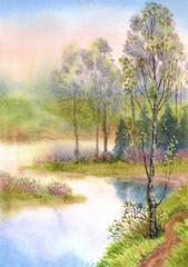 FototapetaWatercolor landscape. Spring trees on a quiet lake