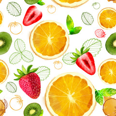 Panel Szklany Owoce Fruit seamless pattern mixture of orange,kiwi slices, strawberry