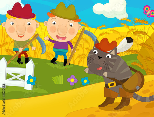 Cartoon happy and funny traditional farm scene - illustration for children