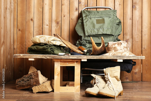 Aluminium Prints Hunting Hunting gear on wooden background