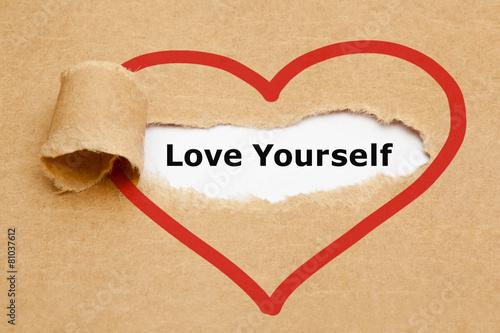 Fotografía  Love Yourself Torn Paper