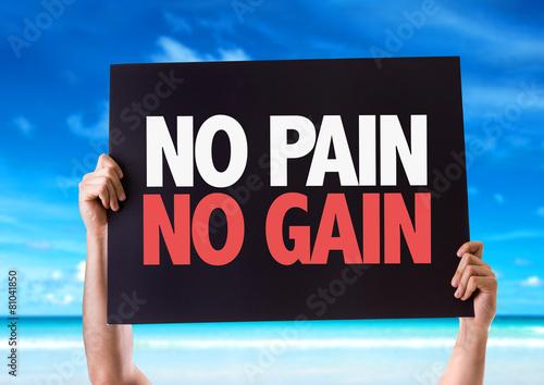 Fotografie, Obraz  No Pain No Gain card with beach background