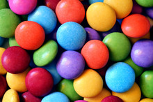 Macro Detail Of Pile Of Colored Smarties