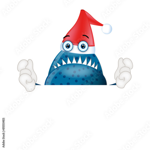 Fotografie, Obraz  Monster Garry with santa clause hat christmas advertising space