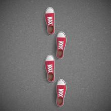 Vintage Sneakers Stand On Asphalt.