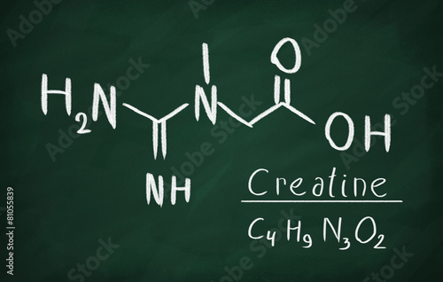 Fotografia Chemical formula of creatine on a blackboard
