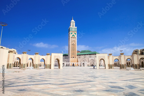 Photo Stands Morocco beautiful mosque Hassan second, Casablanca, Morocco