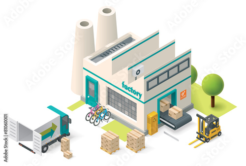 Fototapeta Vector isometric factory