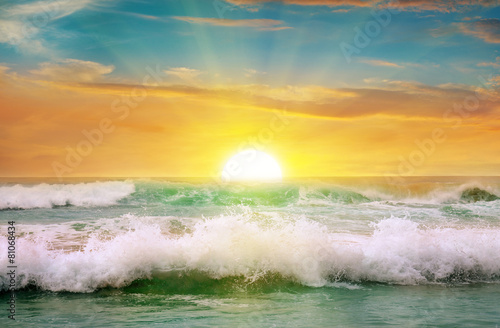 Fotobehang Zee / Oceaan Fantastic sunrise on the ocean