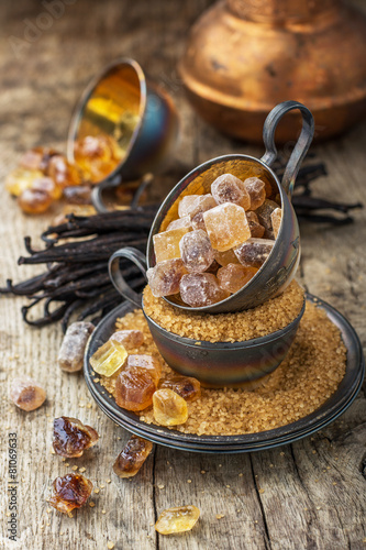 Brown and vanilla sugar on a background
