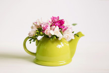 Flowers Freesia In A Vase On T...