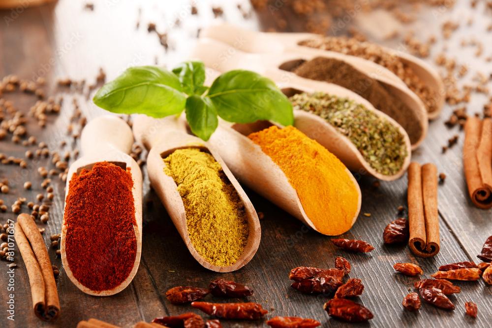 Fototapety, obrazy: Variety of spices on kitchen table