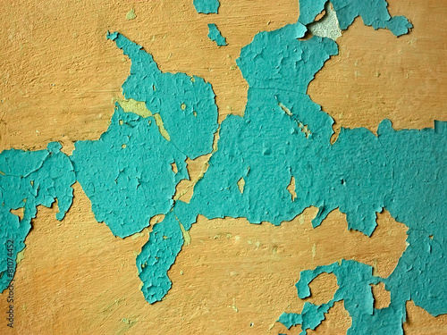 Recess Fitting World Map Old wall with multi-layer shelled surface