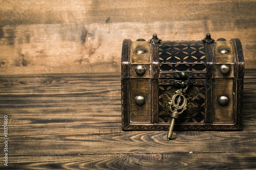 Photo Lock. Closed decorative chest with old metal key