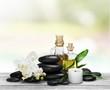Alternative. Zen basalt stones and orchid