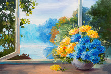 Bouquet Of Spring Flowers On Table Near The Window, Oil Painting