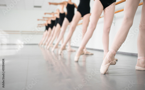 Canvas-taulu young dancers ballerinas in class classical dance, ballet