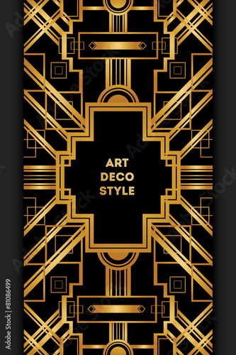 Photo  Art Deco vintage decorative frame. Retro card design template