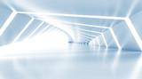 Fototapeta Perspektywa 3d - Abstract empty illuminated light blue shining corridor, 3d