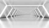 Fototapeta Perspektywa 3d - Abstract 3d empty illuminated white shining bent corridor