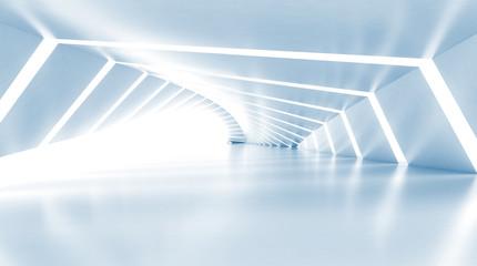 Abstract empty illuminated light blue shining corridor, 3d