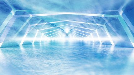 Abstract blue cloudy shining surreal tunnel interior