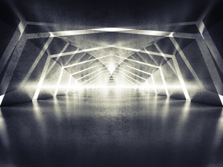 3d abstract dark shining surreal tunnel interior background