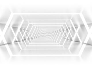 Abstract empty illuminated white shining corridor interior