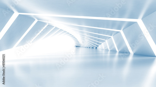 obraz dibond Abstract empty illuminated light blue shining corridor, 3d