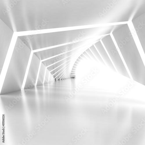 fototapeta na ścianę Abstract empty illuminated white shining bent corridor interior
