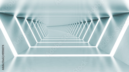 Abstract 3d empty illuminated light blue shining bent corridor #81106074