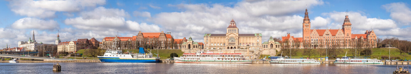 Panoramic view of Szczecin city waterfront by the Odra River, Poland.
