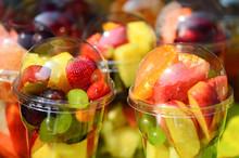 Fruit Salad Arranged In Plastic Cups