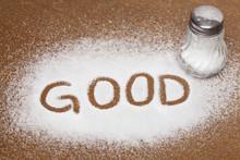 Salt Written On Counter In Spilled Salts From Shaker