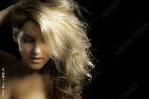 Fotografie, Tablou  Sexy Blonde Latina with Hand On Head