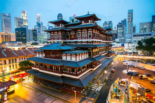 Fototapety, obrazy: China Town area in Singapore with twilight time.