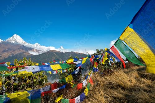 Spoed Fotobehang Nepal Pooh Hill Trek Scene, Annapurna Range, Nepal