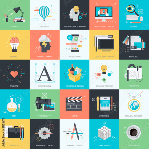 Photo  Set of flat design concept icons for graphic and web design