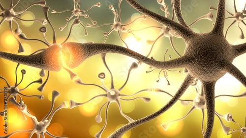 Nerve Cell. 3D. Neurons - fototapety na wymiar