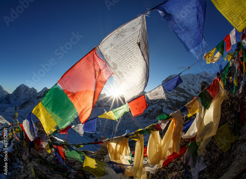 Montage in der Fensternische Nepal Everest Base camp, Nepal