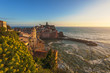 Beautiful view from hills on the coast town of Vernazza, Cinque