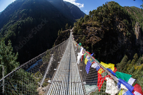 Wall Murals Nepal Bridge in Himalayan mountains