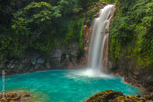 Photo Stands Waterfalls Beautiful Rio Celeste Waterfall