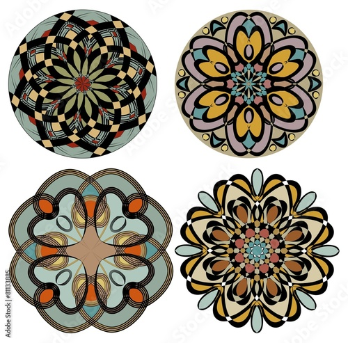 collection of colored rosettes in nostalgic color art deco style